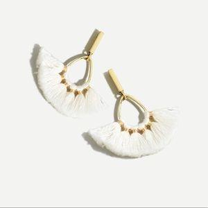 J Crew tassel fan earrings gold and white